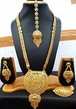 22K Gold Plated 12'' Long Indian Necklace Earrings Tikka Ring Bridal Top Set