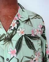 ** Fun & Unique Mint Green Men's 100% Crinkled Rayon Hawaiian Aloha Shirt *NWT*