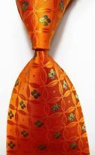 New Classic Geometric Orange Green JACQUARD WOVEN 100% Silk Men's Tie Necktie