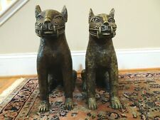 Antique African Benin Bronze Royal Leopards Cats – Pair (Set of 2)
