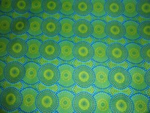 CLEARANCE 1 YARD Tribal Council Green Blue Circle Medallion Quilts Crafts Fabric