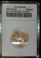 2001-S 25 C Silver Quarter North Carolina ANACS PF 69 DCAM