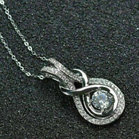 "1Ct Round Cut VVS1 Diamond Knot Pendant Necklace 18"" Chain 14k White Gold Finish"