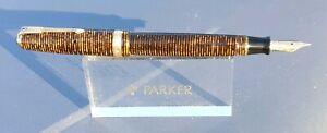 PARKER VACUMATIC GOLDEN BROWN 14k GOLD FINE NIB FULLY RESTORED