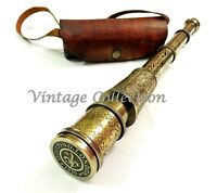 "Antique Maritime 16"" Brass Engraved Telescope Nautical Spyglass Scope With Case"