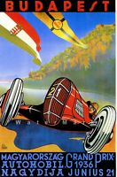 Hungary Grand Prix 1936 Vintage Poster Print Car Motor Race Retro Style Re-Art