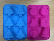 NEW - Set of 2 Silicone Christmas Candy, Cake, Ice, & Soap DIY Molds Moulds Xmas