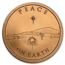 1 onza copper round Peace on Earth 999,99 avdp