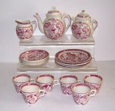 ALLERTON & SON LITTLE MAE POTTERY TEA SET RED CHILDS STAFFORDSHIRE 1880's 19 PCS