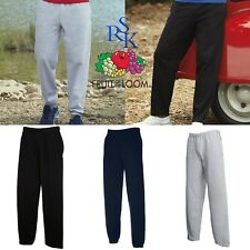 MENS CLASSIC JOG PANTS Fruit of the Loom Elastic/Open Leg Sweat Jogging Bottoms