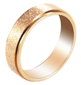 6mm Band Ring Frosted Wedding Stainless Steel Gold Size13