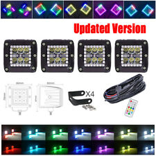 "4X 3""inch 30W RGB Halo Ring Chasing Offroad Led Spot Work Light Kit For ATV SUV"