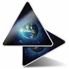 2 x Triangle Stickers 10 cm - Blue Planet Earth Space Sky  #15928