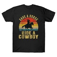 Save A Horse Ride Cowboy Vintage Men's Short Sleeve T Shirt Cotton Retro Tee Top