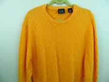 Jos A Bank Cotton Cable Knit Sweater L 46 Chest Signature Yellow Orange Crew