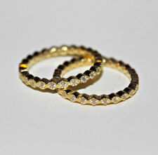 Eternity Ring Size 7 SET OF 2 14K sterling Silver & Gold plated 925 Cubic Zircon