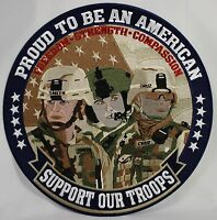 "Proud to be an American--Support Our Troops 12"" Embroidered Patch Badge Military"