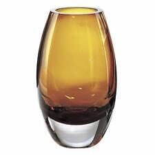"(D) Centerpiece 'Radiant' Amber-Colored Decorative Crystal Flower Vase 9"" H"