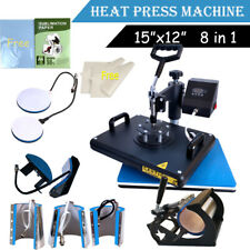 8 in 1 Heat Press Machine Transfer T-Shirt Mug Hat Plate Cap + Sublimation Paper