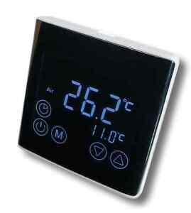 Regler LED Touchscreen Raumthermostat schwarz auch f. Infrarotheizung #a61