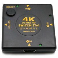 4K HDMI Switch Box Selector 3 In 1 Out kvm Audio Extractor Hub Splitter Swi N2M3