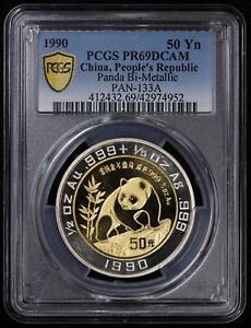 1990 China Bi-Metallic 1/2oz Gold & Silver 50 Yuan Panda PCGS PR69DCAM PAN-133A