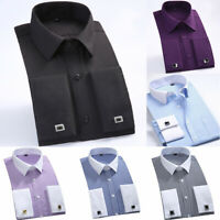 Shirts Collar White Business Striped Cuff French Men's Dress Casual