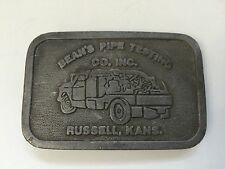 Vintage Belt Buckle Beans Pipe Testing Gas Oil Advertising Kansas USA
