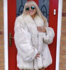 BEAUTIFUL WHITE SAGA FOX FUR DESIGNER COAT JACKET SIZE L UNISEX