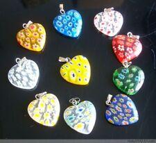 12pcsMulticolor Beautiful Bead Heart Millefiori Flower Lampwork Glass Beads 20mm