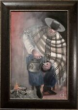 Western Oil Painting Portrait of Man in Poncho, Illegibly Signed & Framed, NICE!