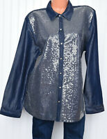Chicos Womens Denim Embellished Sequin Button Front Shirt Sz 3 XL