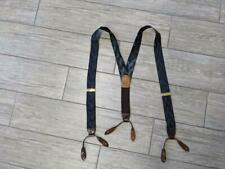 USA made COLE HAAN vintage SUSPENDERS blue LEATHER fittings