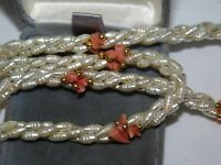 """White Biwa Rice Pearl Coral Chip Bead Twisted Rope 3 Strand 24"""" Necklace 11i 2"""