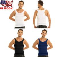US Mens Slimming Body Shaper Vest Shirt Chest Compression Shirt Tank Top Corset