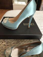 BADGLEY MISCHKA Nile Blue Jeweled Peep toes Evening Shoes Size 7.5 US