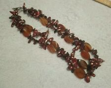 Freshwater pearl and carnelian stone bead necklace multistrand