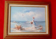 Vintage Women Looking at Sea Original Oil Painting-Signed Tomeya-Framed 1960?