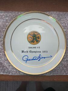 Vintage Oakland A's 1973 World Series Plate Rollie Fingers Signed Auto JSA COA