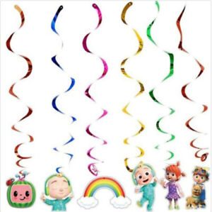 COCOMELON Happy Birthday Party HANGING SWIRL DECORATIONS w/foil 6pcs