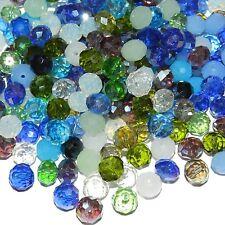 CRL697 Blue Mix Color & Finish 10mm Rondelle Faceted Crystal Glass Beads 100/pkg