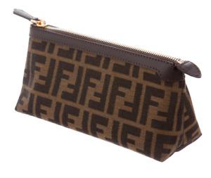 FENDI Zucca Pattern Cosmetic Pouch Bag Purse with Zipper, Brand New