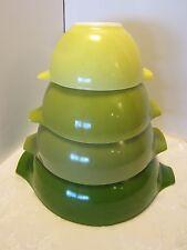 Vintage PYREX Nesting Mixing Bowls set 4 Cinderella Verde Green Avocado Retro