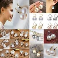 Fashion Pearl Drop Earrings Women Silver,Gold,Rose Gold White Sapphire Jewelry
