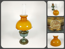 More details for vintage retro aladdin no23 oil lamp light w/ chimney & amber yellow glass shade