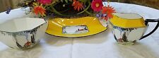 SHELLEY CHINA RARE QUEEN ANNE COTTAGE PATTERN YELLOW & BLACK TRIO #11604