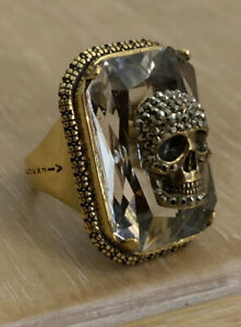 BN ALEXANDER MCQUEEN GOLD TONE JEWELED SKULL & CRYSTAL RING SIZE 17 P WITH BOX