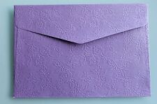 50 X MINI EMBROSSED FLOWER ENVELOPES (80mm X 115mm) - PURPLE