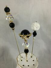 Lot of 3 Vintage Hat Pins Black Crystal White Faux Pearl Glass Beads
