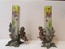 ancienne paire de grand vases putti soliflore verre emaillé vienne regule 19eme